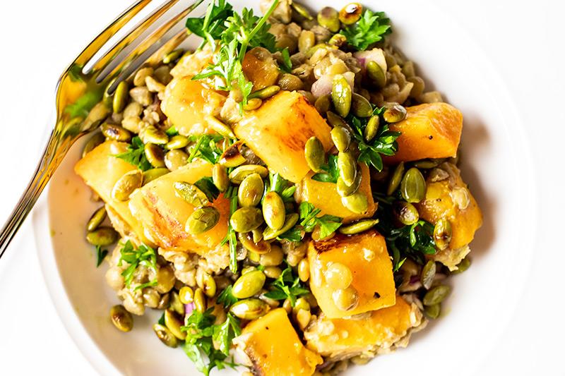 Squash Lentil Salad