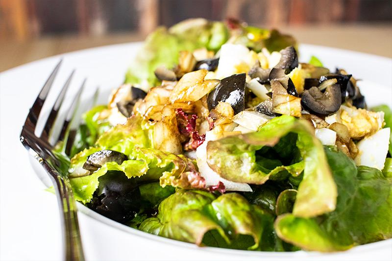 Herb Salad with Hard-Boiled Eggs & Black Olives