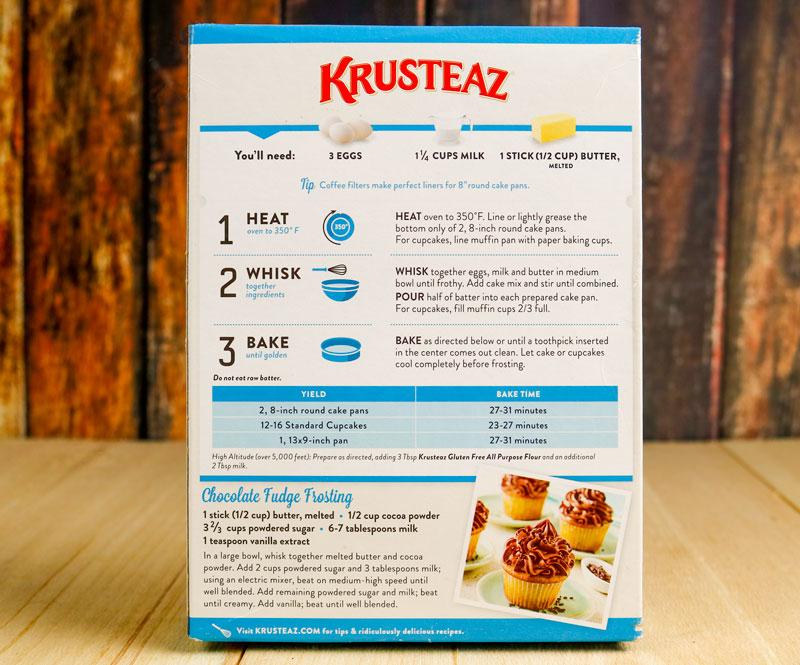 Back Of Krusteaz Cake Box
