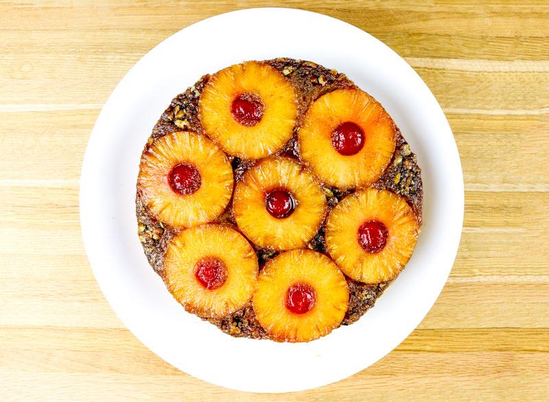 An Overhead View Of An Upside Down Pineapple Cake