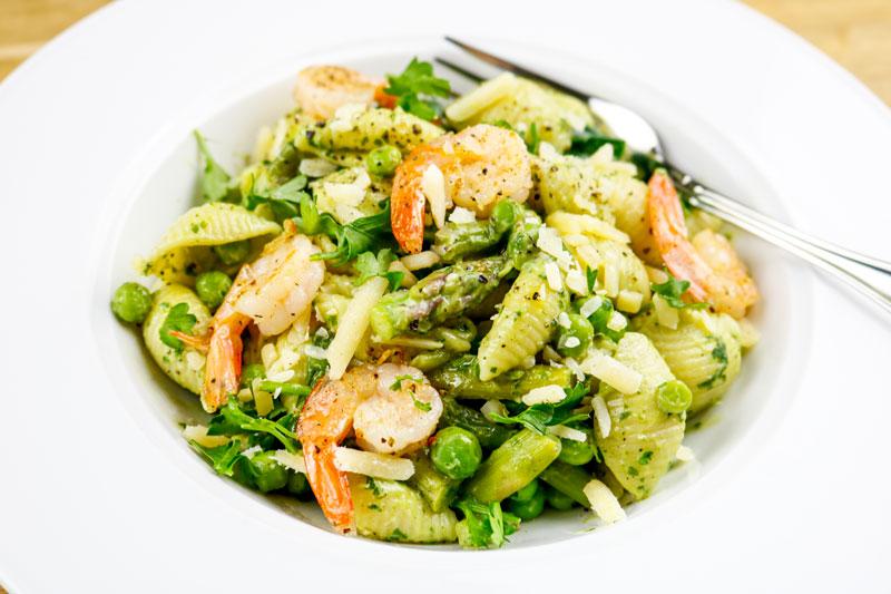 Avocado Pasta With Shrimp