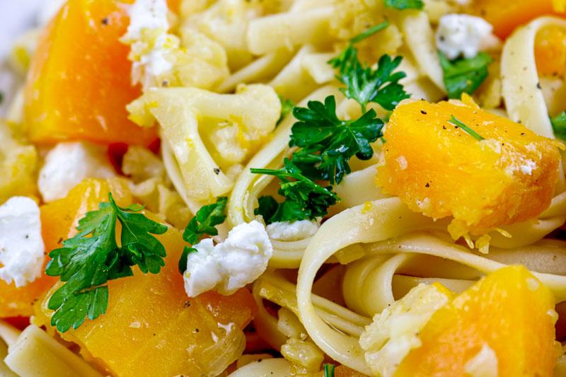 A Close Up Shot Of Butternut Squash Pasta